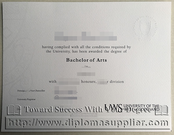 University of the West of Scotland (UWS) degree, UWS diploma