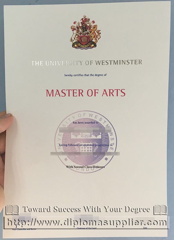 University of Westminster degree, University of Westminster certificate