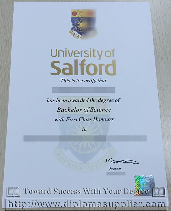 University of Salford degree certificate