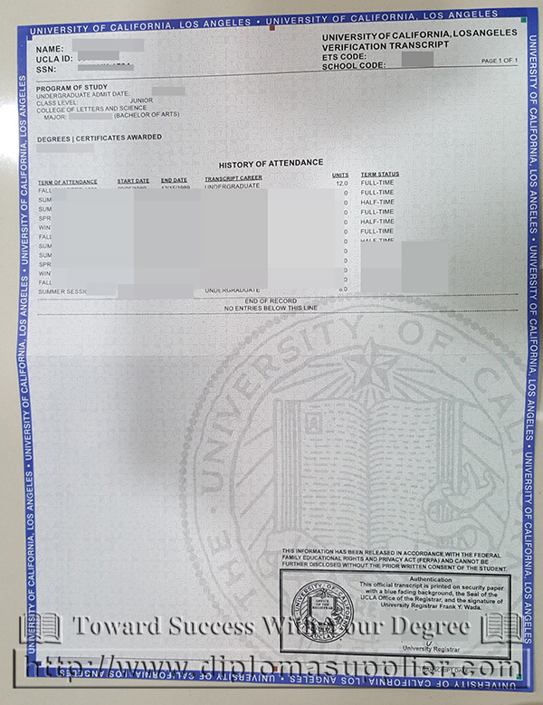UCLA transcript, UCLA certificate of graduation