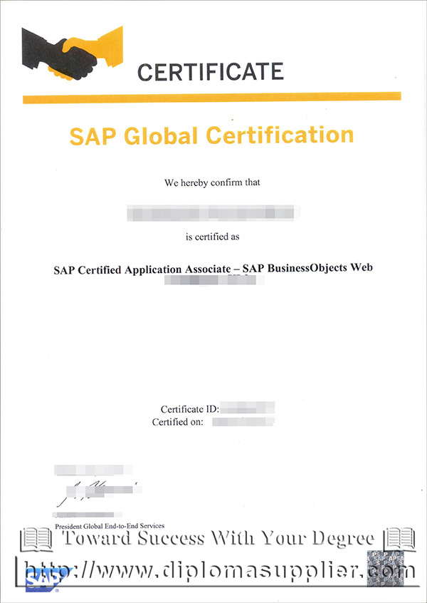 SAP Global certification, SAP diploma