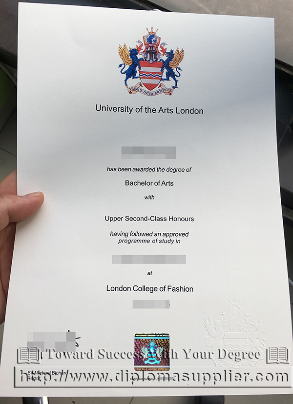 University of the Arts London degree certificate, UAL diploma