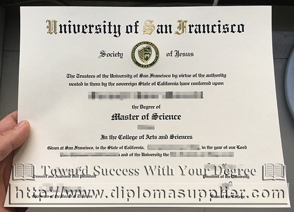 USF degree certificate, University of San Francisco degree