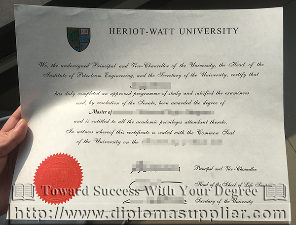 Heriot-Watt University degree certificate, Heriot-Watt University MBA degree