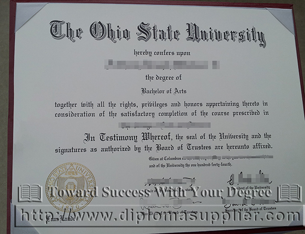 The Ohio State University degree certificate