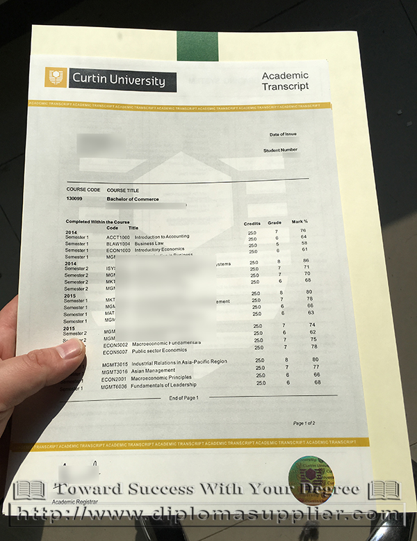 Curtin University transcript, Curtin University academic transcript