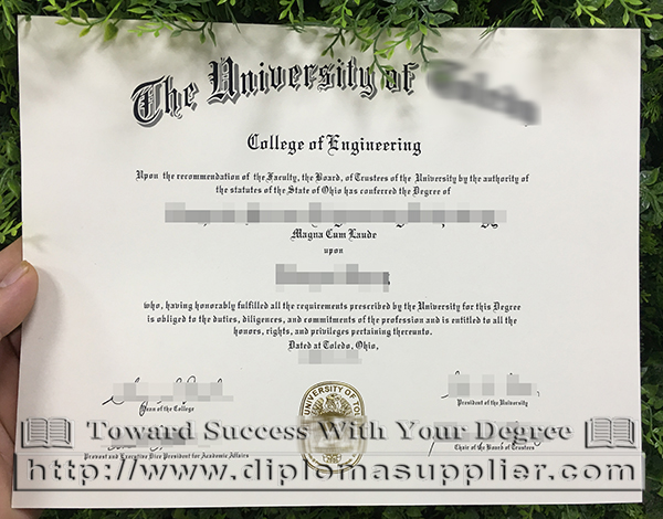 The University of Toledo degree, The University of Toledo bachelor degree certificate