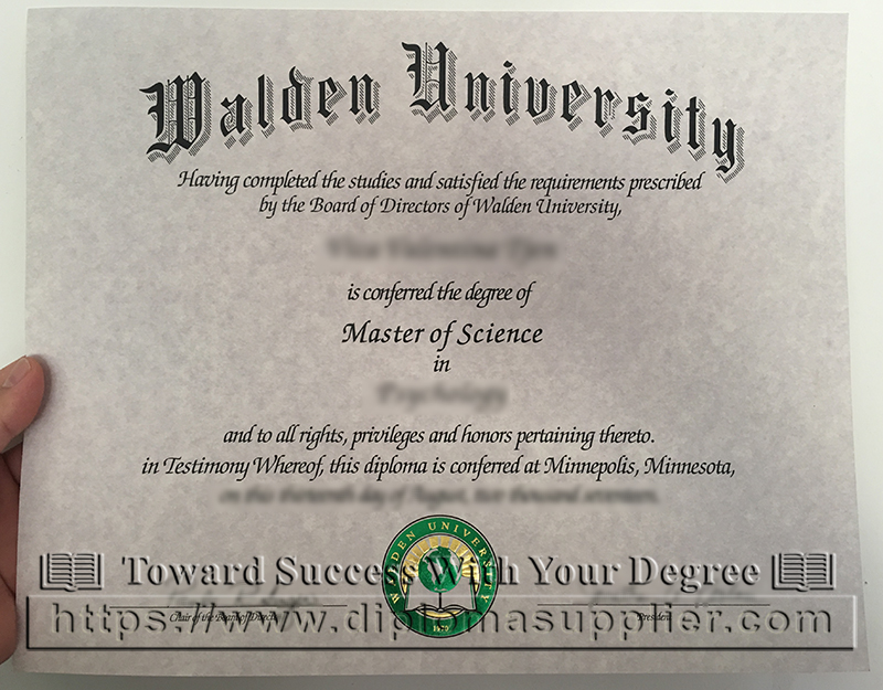 Walden University degree certificate, Walden University diploma, US degree