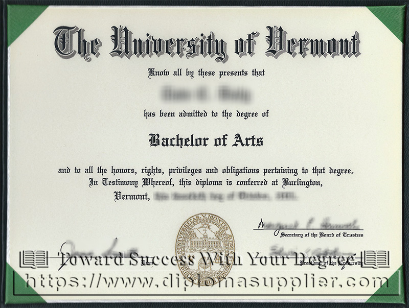 The University of Vermont degree, The University of Vermont diploma, US degree