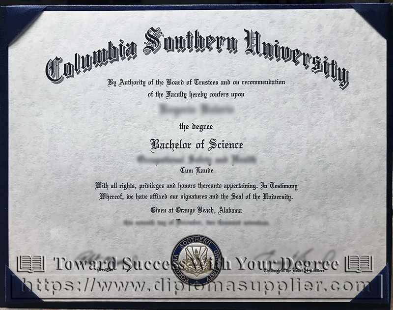 Columbia Southern University degree sample, Columbia Southern University diploma, CSU degree, CSU diploma